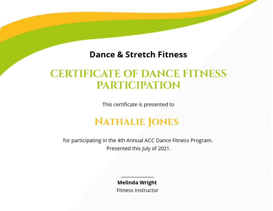 Dance Fitness Certificate Template