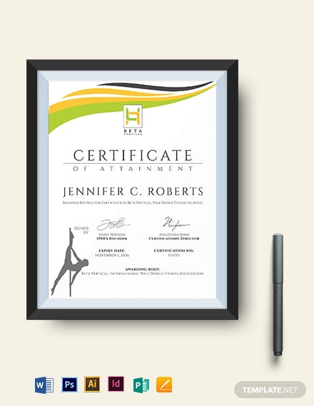 Dance Fitness Certificate Template