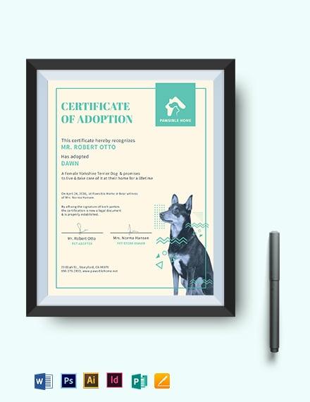 Dog Adoption Certificate Template