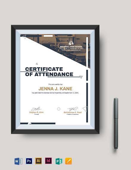 editable attendance certificate template
