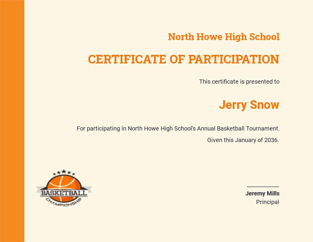 Editable Basketball Certificate Template
