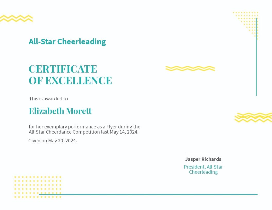 Editable Cheerleading Certificate Template
