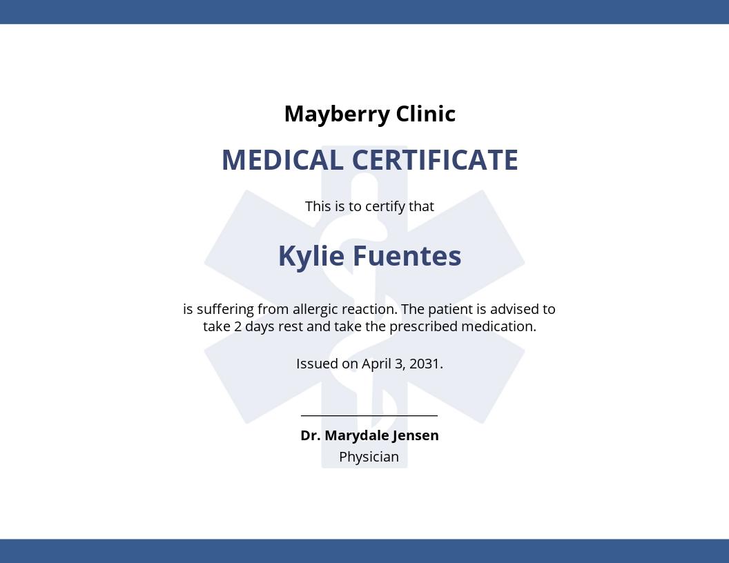 Editable Medical Certificate Template