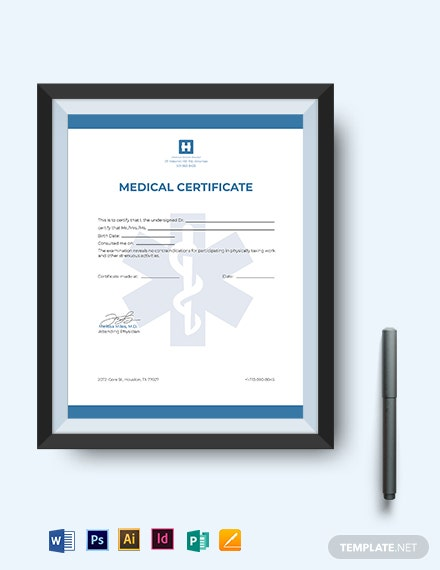 editable medical certificate template