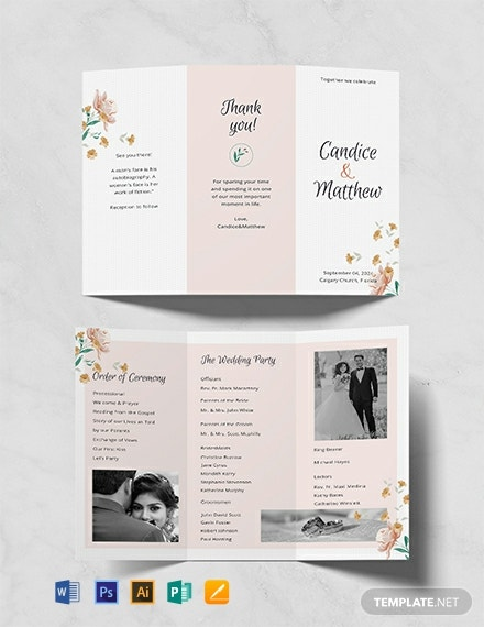 TriFold Wedding Program Template