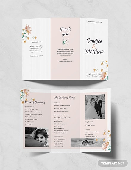 free tri fold wedding program template download 30 program