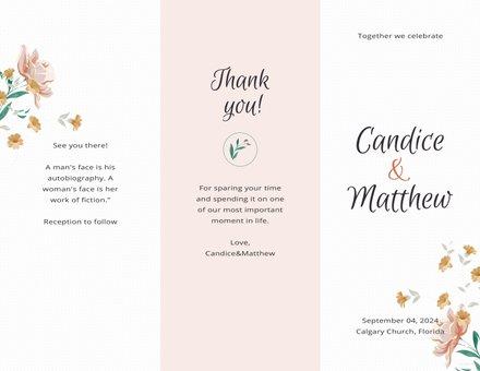 Free Tri-Fold Wedding Program Template