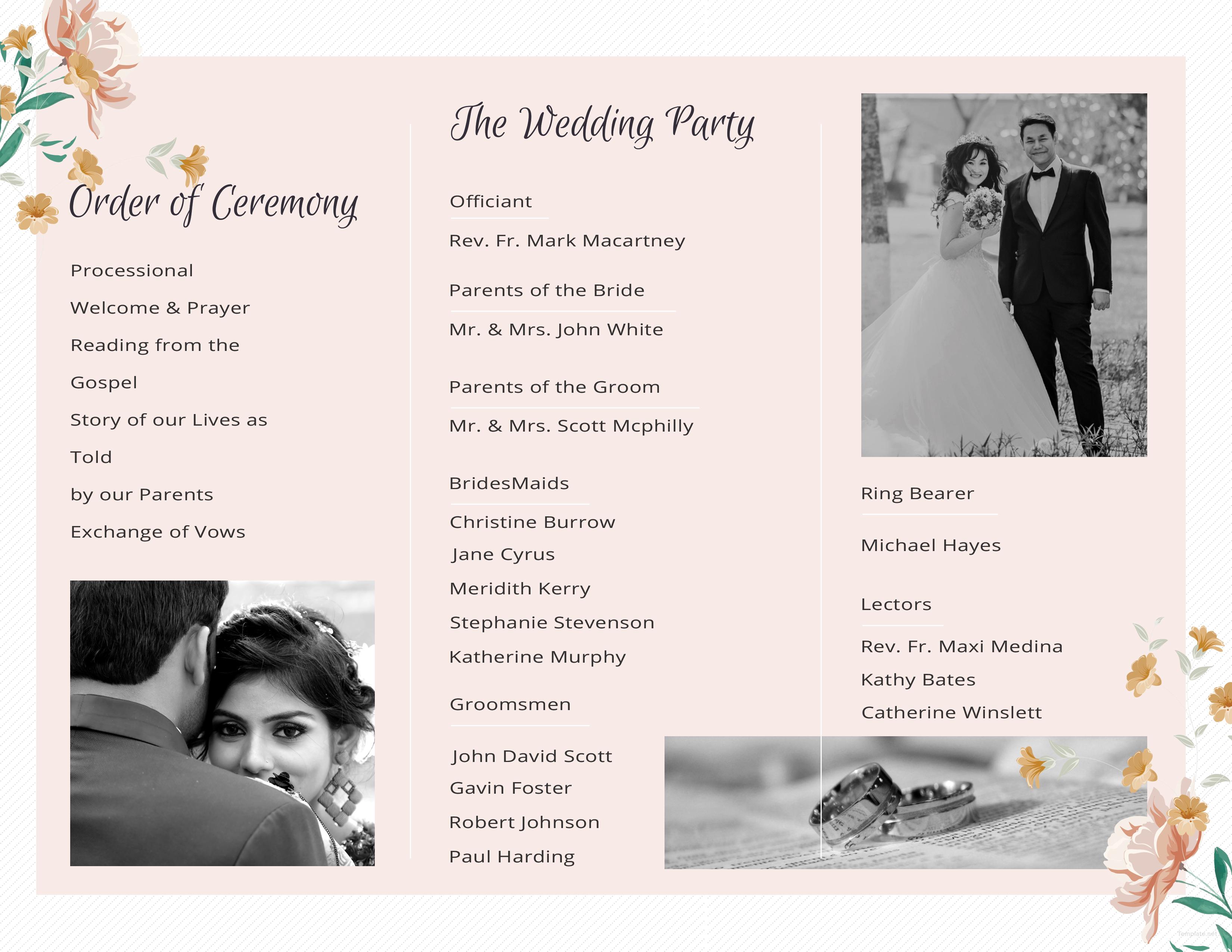 Editable Tri-Fold Wedding Program