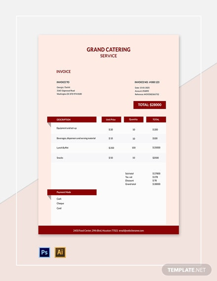 Editable Catering Service Invoice Template