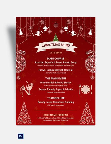Free Red Christmas Menu Template