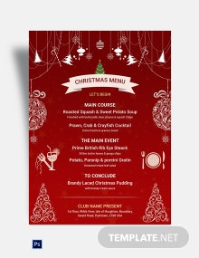 Free Red Christmas Menu Template