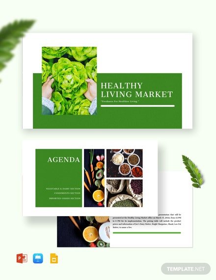 Healthy Pricing Table Presentations Template