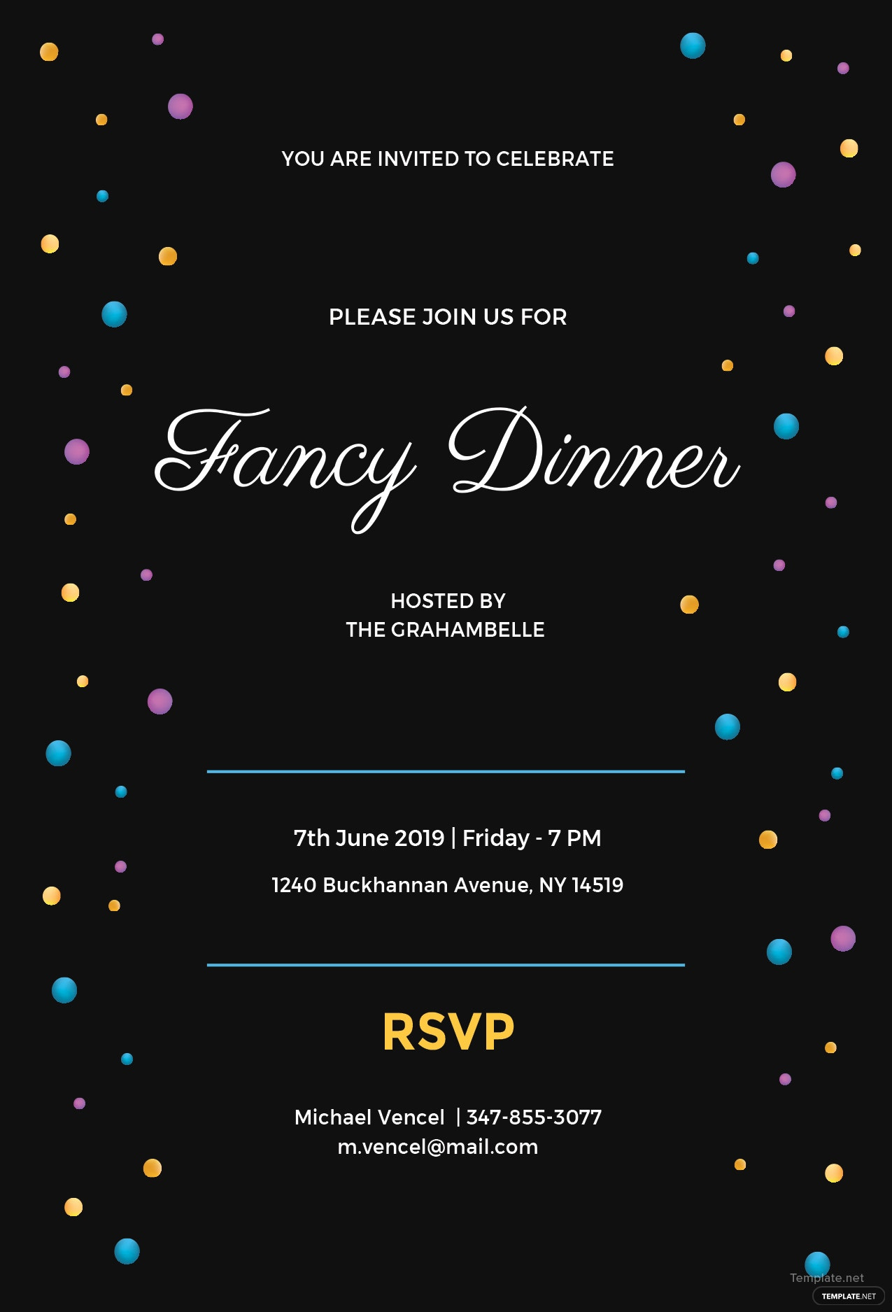 free fancy dinner invitation template in ms word