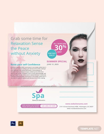 Free Spa Postcard Template