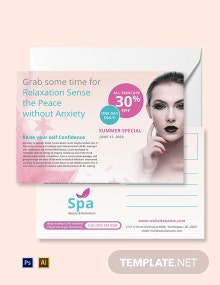 Free Spa Postcard Template