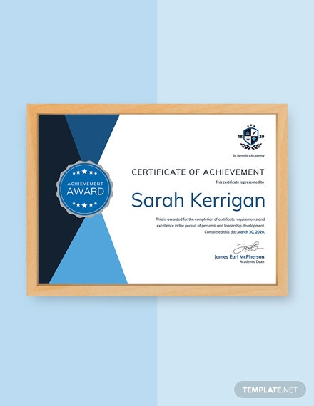 free academic achievement certificate template download 200