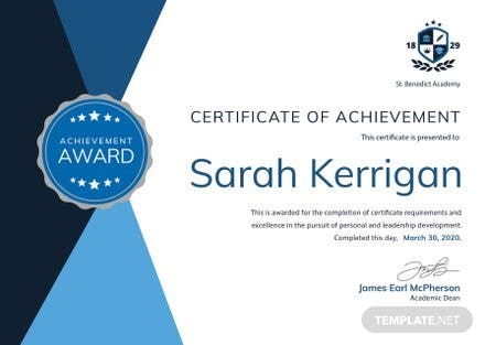 Free Academic Achievement Certificate Template