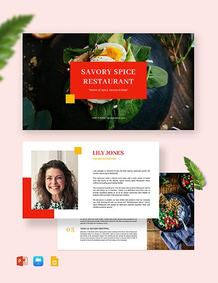 Simple Restaurant Presentation Template