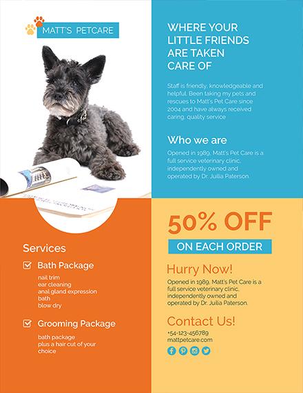 Free Editable Pet Care Flyer Template