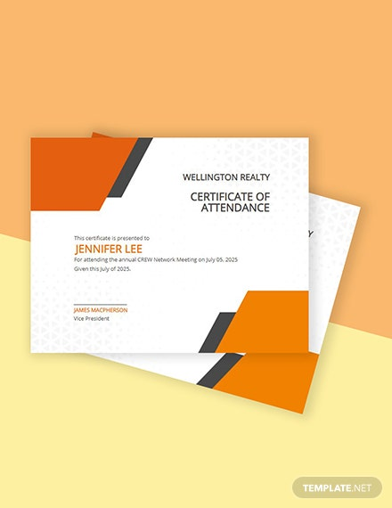 Free Annual Meeting Attendance Certificate Template