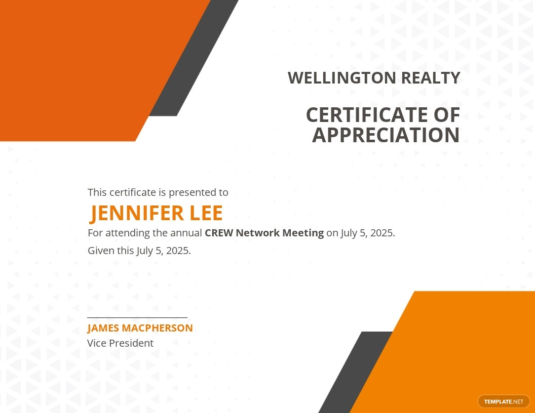 Annual Meeting Attendance Certificate Template