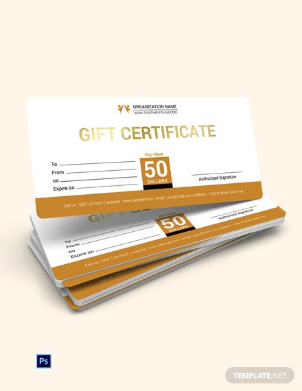 Free Organization Gift Certificate Template