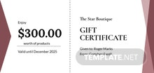Free Fashion Gift Certificate Template