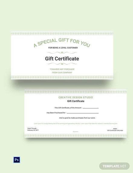 Free Shop Gift Certificate Template