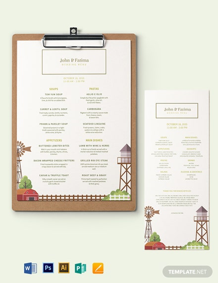 barn wedding menu template