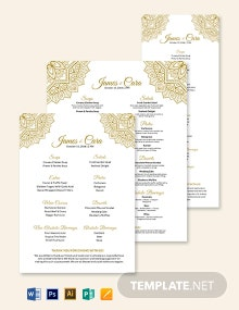 Bohemain Wedding Menu Template