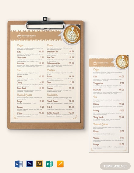 Classic Cafe/Coffee Shop Menu Template