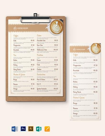 Classic CafeCoffee Shop Menu Template