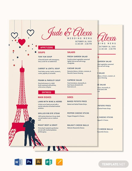 Destination Wedding Menu Template
