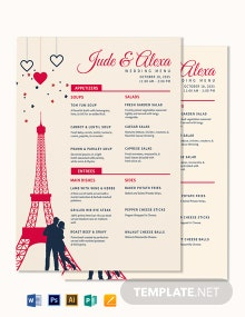Destination Wedding Menu Template