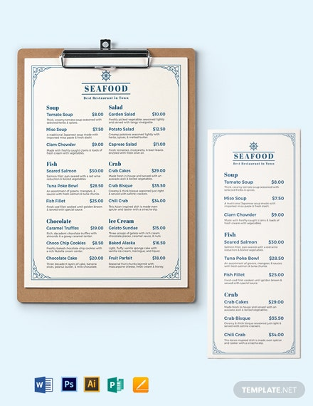 Downloadable Seafood Menu Template