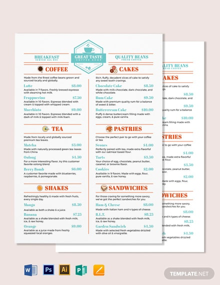 Drink Cafe/Coffee Shop Menu Template