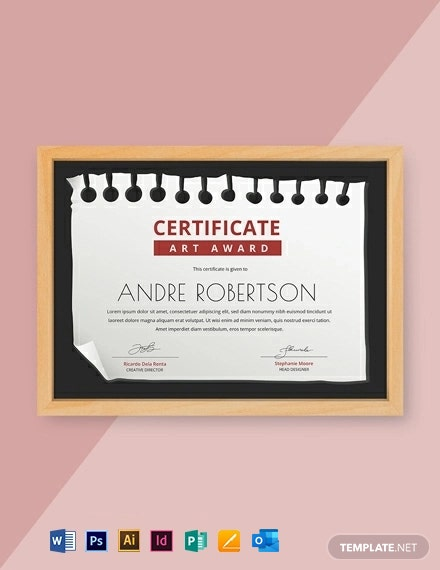 Free Art Award Certificate Template