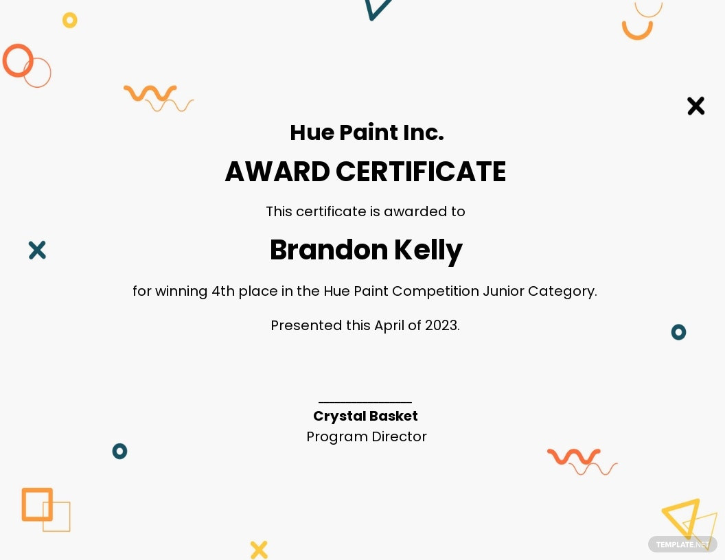 Art Award Certificate Template