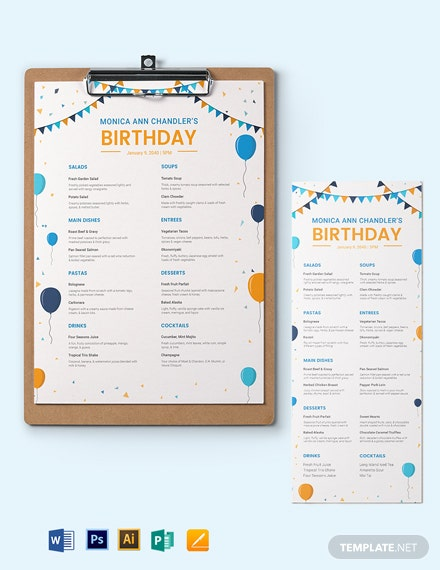 editable birthday menu template