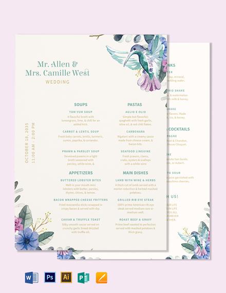 Five Course Wedding Menu Template