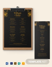 Gold Wedding Menu Template