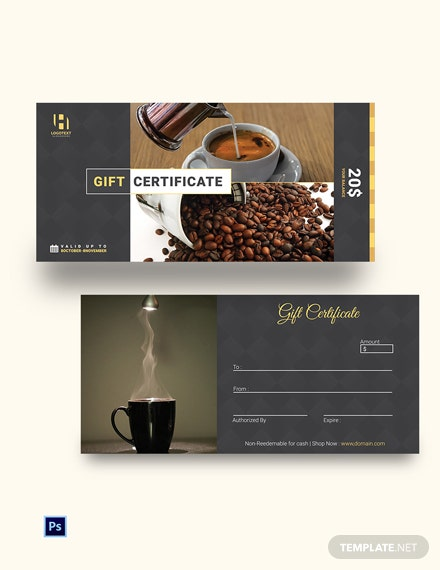 Free Cafe Gift Certificate Template
