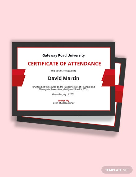 Free Attendance Certificate for College Student Template Printable