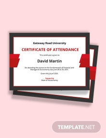 Free Attendance Certificate for College Student Template