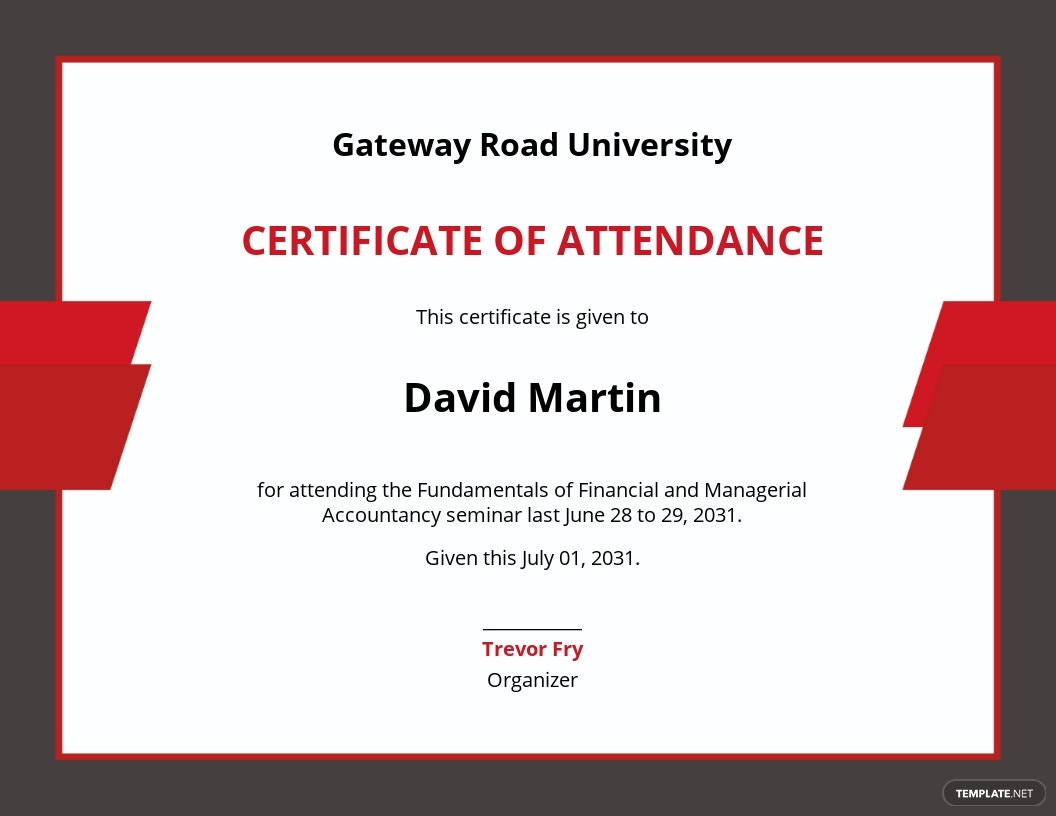 Attendance Certificate for College Student Template