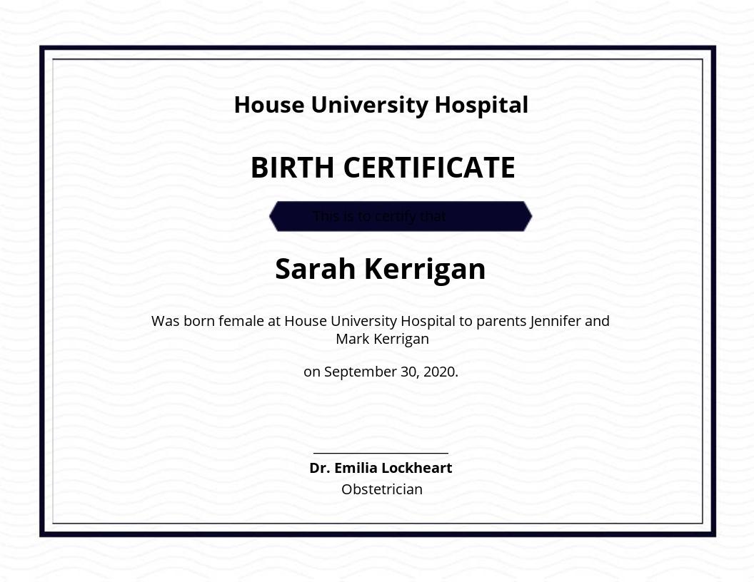 Free Blank Birth Certificate Sample Template