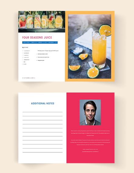 Printable Cookbook Catalog Template