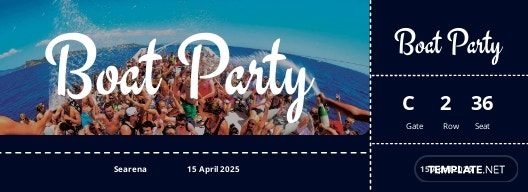 Boat Party Ticket Template [Free JPG] - PSD