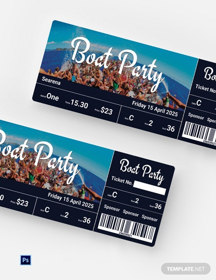 Free Boat Party Ticket Template