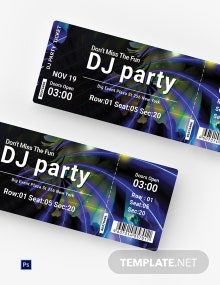 Free DJ Party Ticket Template